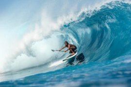 The Jimmy Lewis Stun Gun sup surf board ridden by Kealii Mamala i nTahiti