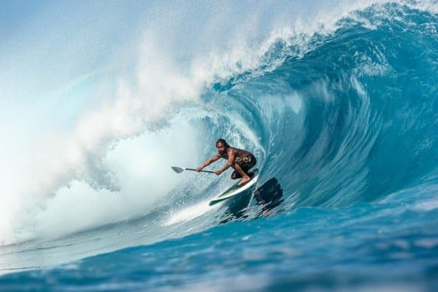 The Best Stand up paddle baord is the Jimmy Lewis Stun Gun sup surf board ridden by Kealii Mamala in Tahiti