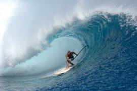 Laird Hamilton takes on Teahupoo on a standup paddleboard sup