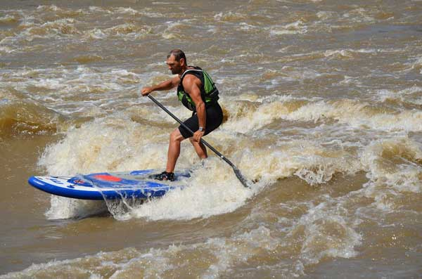 River sup rafting on inflatable mistral isup