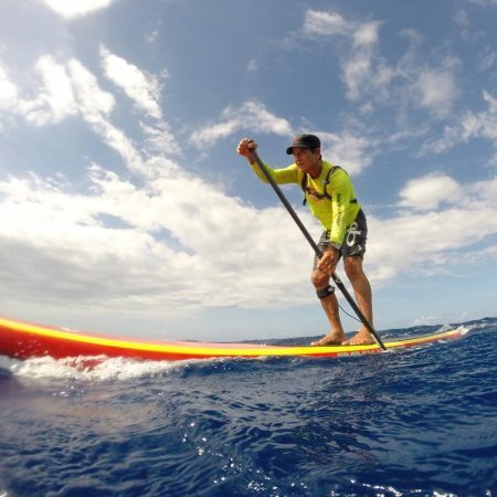 Jimmy Lewis paddling The Rail downwind board
