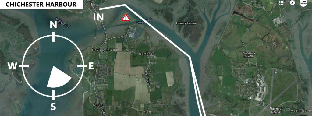 Chichester harbour downwind sup run map with Jimmy Lewis UK