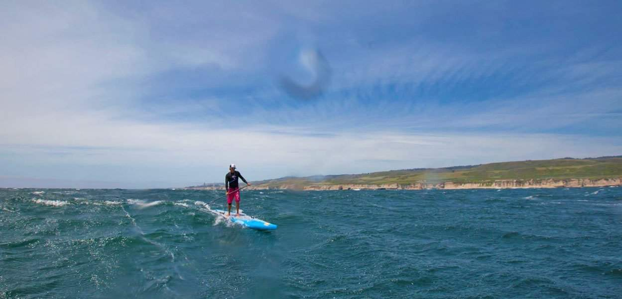 Downwind paddleboarding in open water with Jamie Mitchell