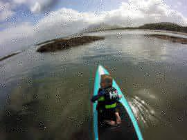 Mark Gaul and his sonpaddling out onto Lough Neagh