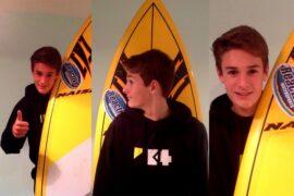 Blue Ewer rides Naish SUP surf