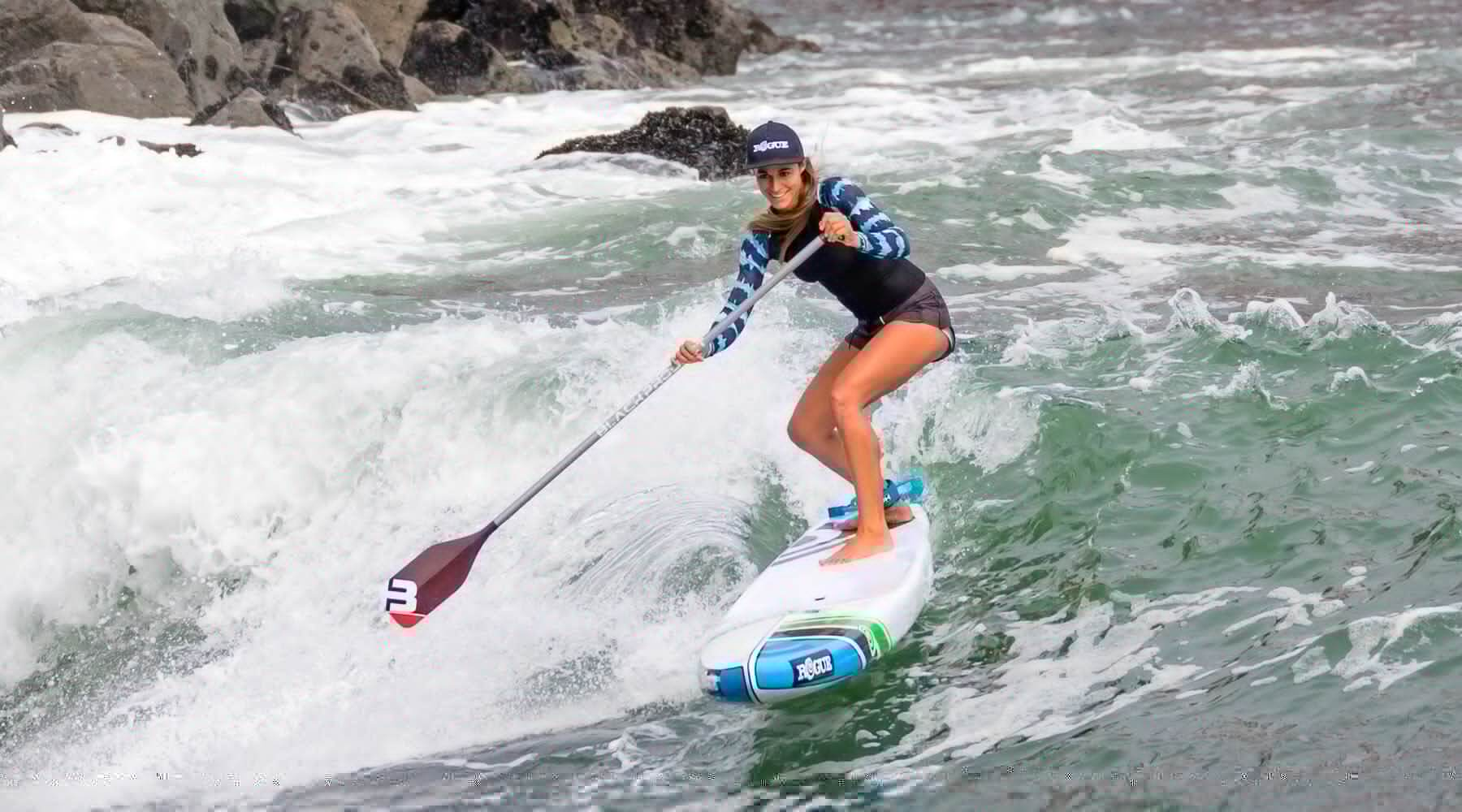 Olivia Piana using the Black Project Hydro paddle and texcarbon shaft